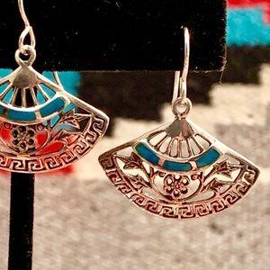 Sterling & Turquoise Floral Fan Earrings